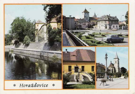 Pohlednice, Horažďovice, město v údolí Otavy