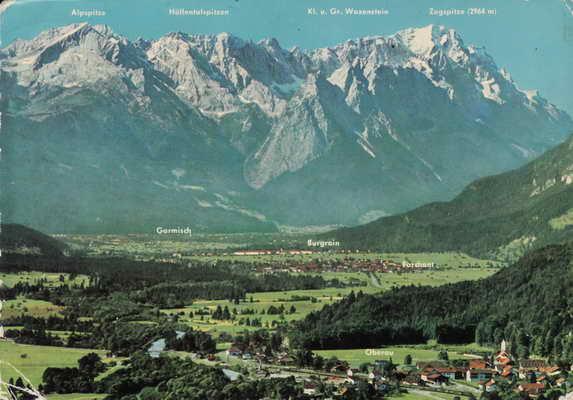 Pohlednice, Loisachtal gegen Zugspitzgruppe 2964m