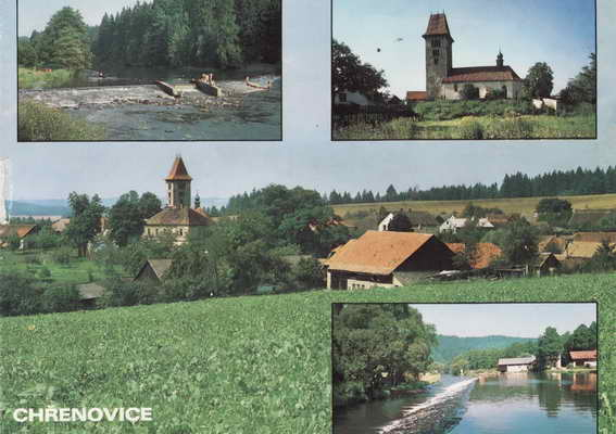 Pohlednice, Chřenovice, 1992
