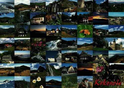 Pohlednice, Krkonoše, chalupy, hory, mozaika, čistá