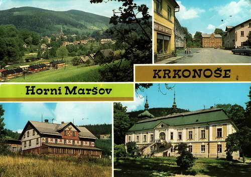 Pohlednice, Krkonoše, Horní Maršov, prošlá poštou