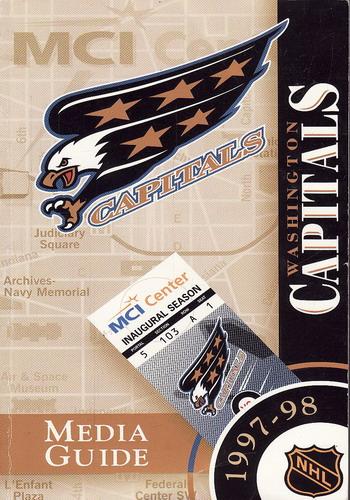 Washington Capitals, 1997 - 98 Media Guide s 18ti podpisy hráčů