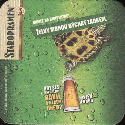 Staropramen, želvy mohou dýchat zadkem, zelený, jednostranný