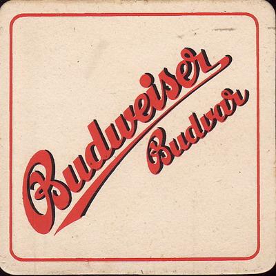 Budweiser Budvar, červený, jednostranný čtverec